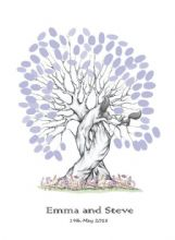 A3+ Squirrels Wedding Fingerprint Tree - Guest Book Alternative - Bride and Groom Keepsake